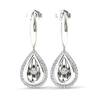 De Couer 10k White Gold 1/3ct TDW Diamond Halo Drop Earrings (H-I, I2)