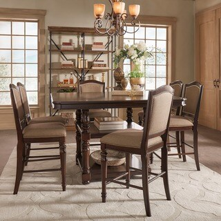 TRIBECCA HOME LaSalle Espresso Pedestal Counter Height Storage Dining Set