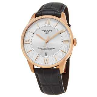 Tissot Men's T099.407.36.038.00 'T-Classic' Silver Dial Brown Leather Strap Swiss Automatic Watch