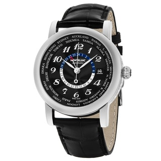Mont Blanc Men's 106464 'Star' Black Dial Black Leather Strap World cities GMT Swiss Automatic Watch
