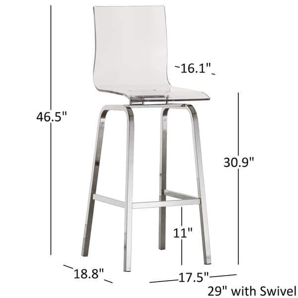Terrific Shop Miles Clear Acrylic Swivel Bar Stools With Back In Ncnpc Chair Design For Home Ncnpcorg