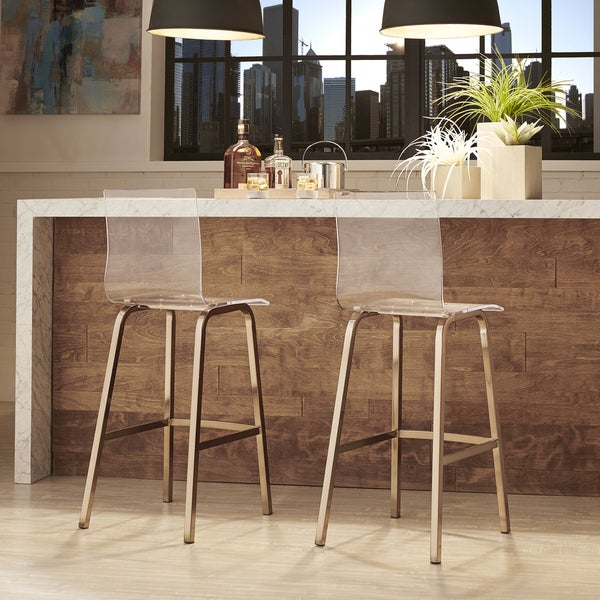 Miles Clear Acrylic Swivel High Back Bar Stools With Back