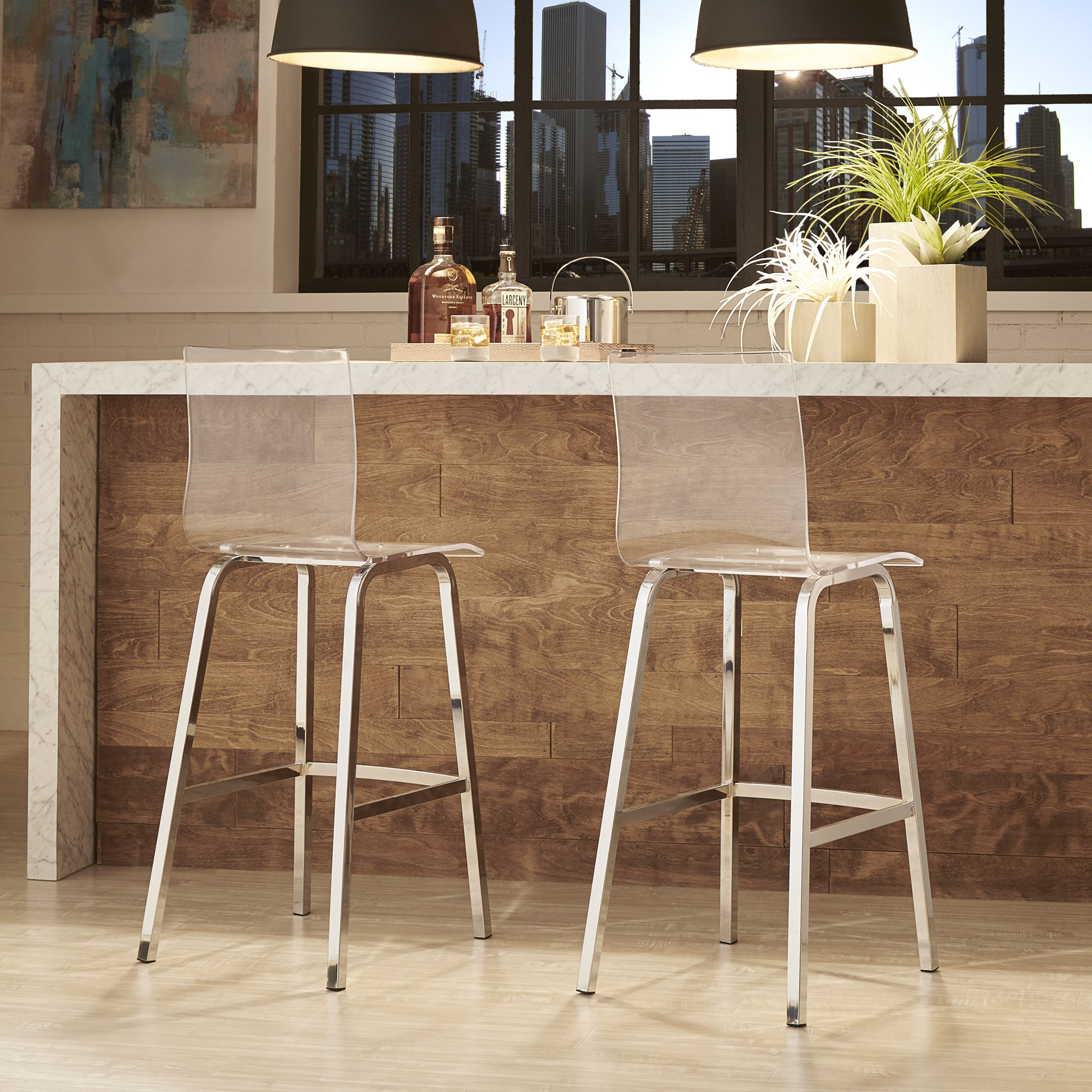 iNSPIRE Q Miles Clear Acrylic Swivel Bar Stools (Set of 2.