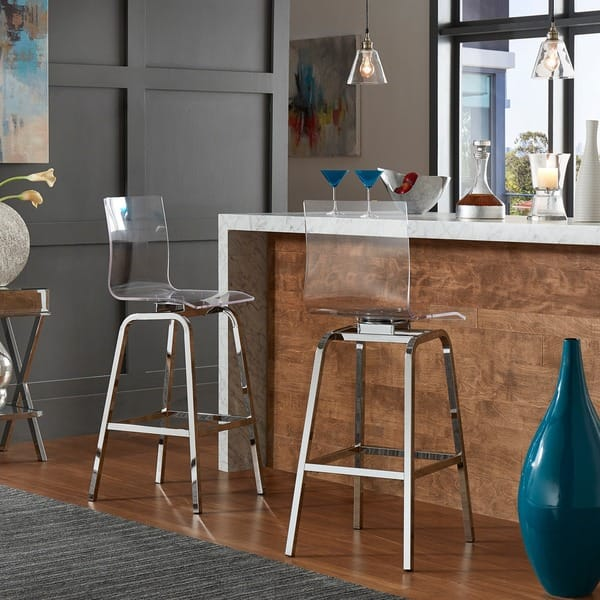 Miles Clear Acrylic Swivel High Back Bar Stools With
