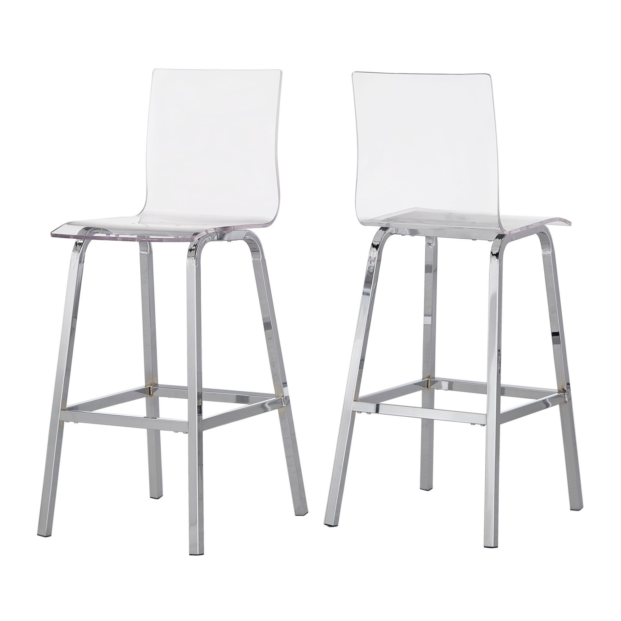 Astonishing Miles Clear Acrylic Swivel High Back Bar Stools With Back Set Of 2 By Inspire Q Bold Machost Co Dining Chair Design Ideas Machostcouk