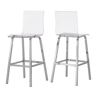 "iNSPIRE Q Miles Clear Acrylic Swivel High Back Bar Stools with Back (Set of 2) by  Bold (24""H - Chrome/Counter)"
