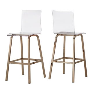 "iNSPIRE Q Miles Clear Acrylic Swivel High Back Bar Stools with Back (Set of 2) by  Bold (24""H - Champagne/Counter)"