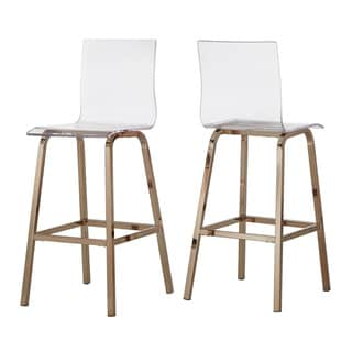 "iNSPIRE Q Miles Clear Acrylic Swivel High Back Bar Stools with Back (Set of 2) by  Bold (29""H - Champagne/Bar)"