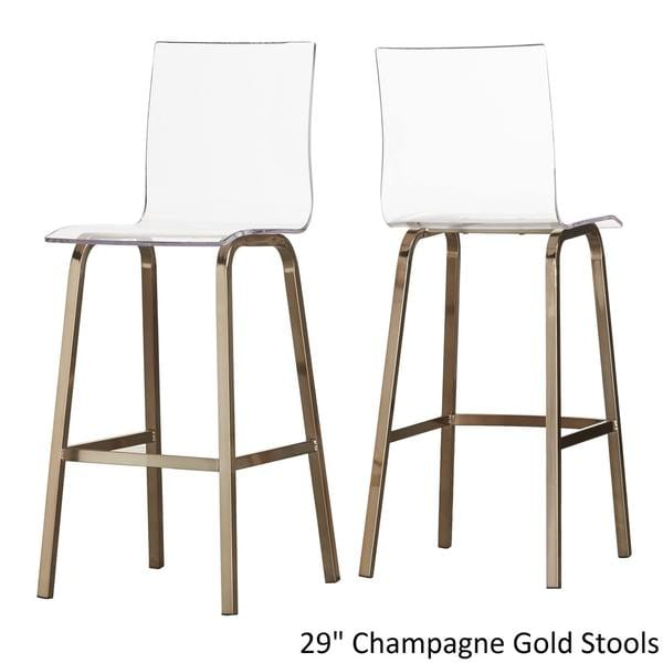 inspire q miles clear acrylic swivel bar stools set of 2 free shipping today - Clear Bar Stools
