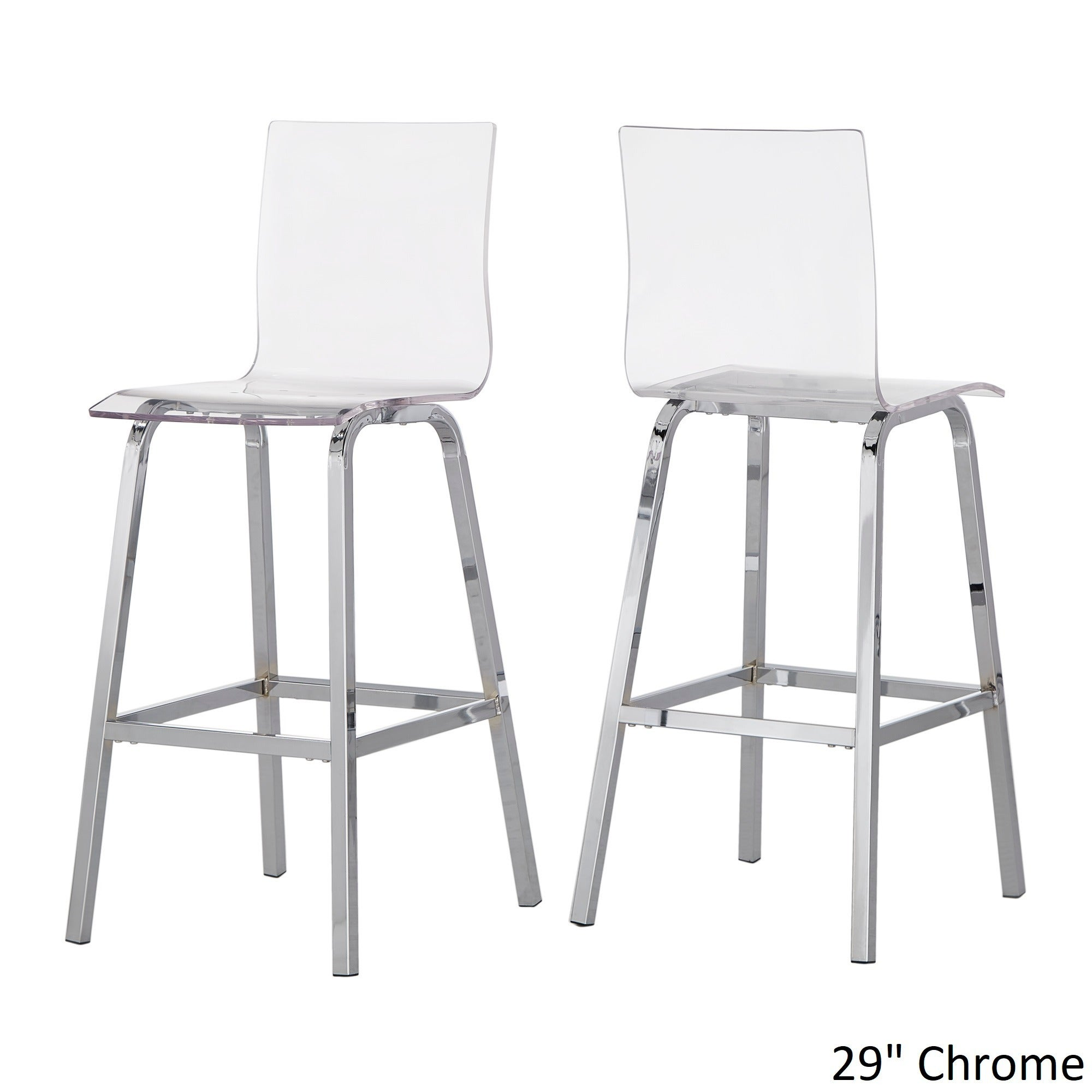 Miles Clear Acrylic Swivel High Back Bar Stools with Back (Set of 2) by  iNSPIRE Q Bold