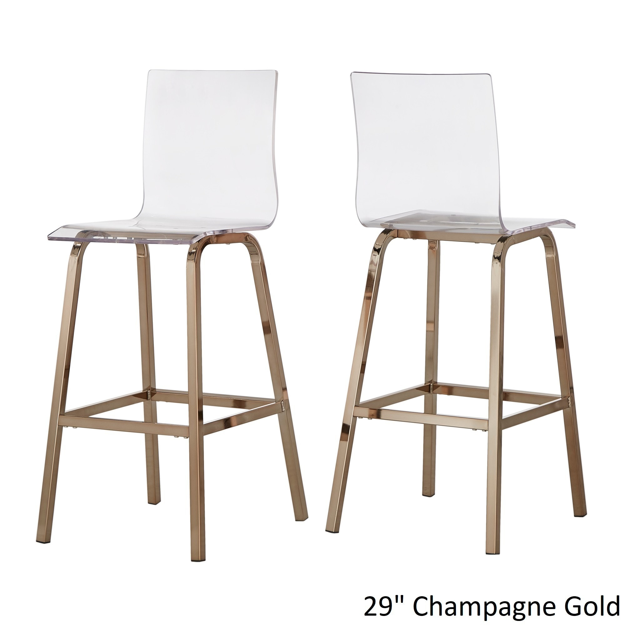Miles Clear Acrylic Swivel High Back Bar Stools