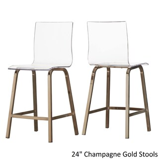 iNSPIRE Q Miles Clear Acrylic Swivel Bar Stools (Set of 2) (4 options available)