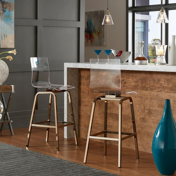 Miles Clear Acrylic Swivel High Back Bar Stools With Set Of 2 By