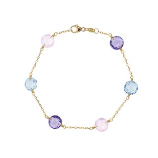 14K Gold Quartz, Topaz, and Amethyst Station Bracelet