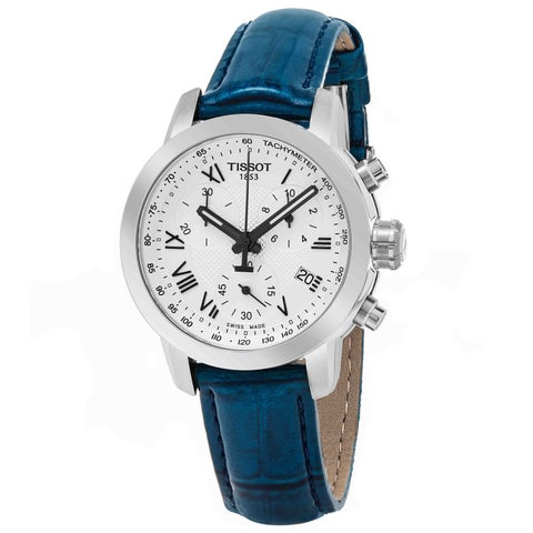 Tissot Women's 'PR 100' Silver Dial Blue Leather Strap Chronograph Swiss Quartz Watch