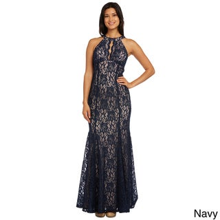Nightway Women's Polyester Long Lace Gown