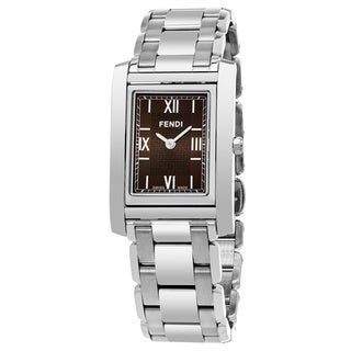Fendi Women's F775320B 'Loop Rectangle' Brown Dial Stainless Steel Swiss Quartz Small Watch