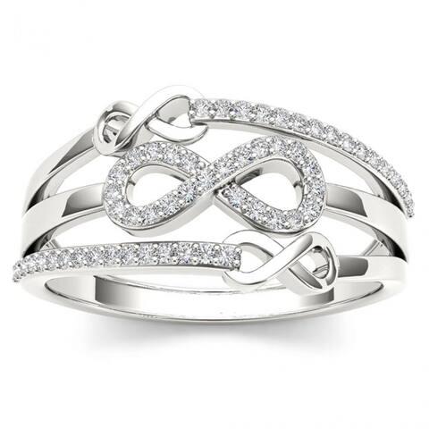 De Couer 10k White Gold 1/6ct TDW Diamond Split Shank Fashion Ring - White H-I