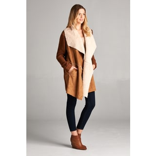 Spicy Mix Gia Brown Faux Fur and Suede Contrast Knitted Sleeve Bodice Coat