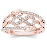 De Couer 10k Rose Gold 1/6ct TDW Diamond Split Shank Fashion Ring - Pink