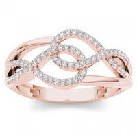 De Couer 10k Rose Gold 1/6ct TDW Diamond Two-side Knot Fashion Ring - Pink