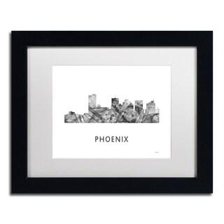 Marlene Watson 'Phoenix Arizona Skyline WB-BW' Matted Framed Art