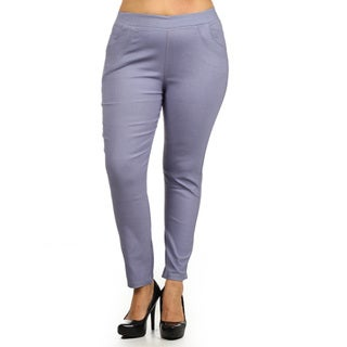 Women's Grey Plus-size Stretch Pants