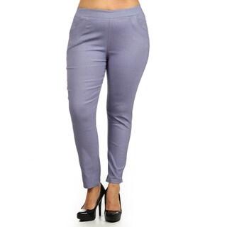 Women's Grey Plus-size Stretch Pants