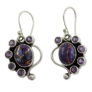 Handcrafted Sterling Silver 'Purple Peacock' Amethyst Turquoise Earrings (India)