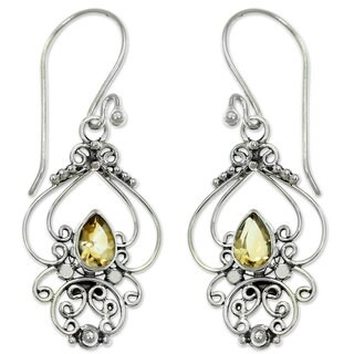 Handcrafted Sterling Silver 'Golden Arabesque' Citrine Earrings (Indonesia)