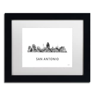 Marlene Watson 'San Antonio Texas Skyline WB-BW' Matted Framed Art