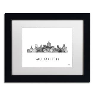 Marlene Watson 'Salt Lake City Utah Skyline WB-BW' Matted Framed Art