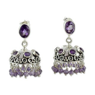 Handcrafted Sterling Silver 'Lilac Jhumki' Amethyst Earrings (India)