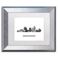 Marlene Watson 'Greensboro NC Skyline WB-BW' Matted Framed Art