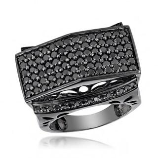 Luxurman Large 14K Gold Black on Black Men's Diamond Ring 4ct (Black, AAA)