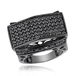 Luxurman Large 14K Gold Black on Men's Black Diamond Ring 4ct (Black)