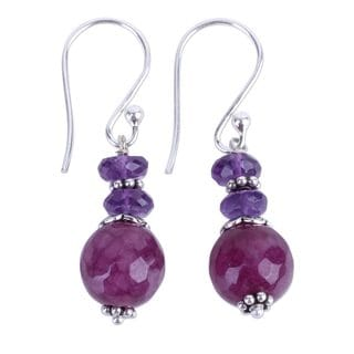 Handcrafted Sterling Silver 'Graceful Amethyst' Agate Amethyst Earrings (India)