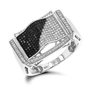 Luxurman 10K Black and White Men's Diamond Ring 0.60ct|https://ak1.ostkcdn.com/images/products/12950507/P19700820.jpg?impolicy=medium
