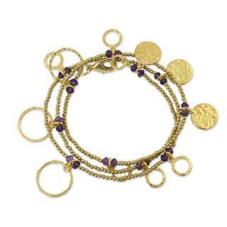 Handmade Gold Overlay 'Retro Eclipse' Amethyst Wrap Bracelet (Thailand)