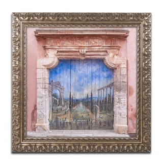 Michael Blanchette Photography 'Old Painted Door' Ornate Framed Art