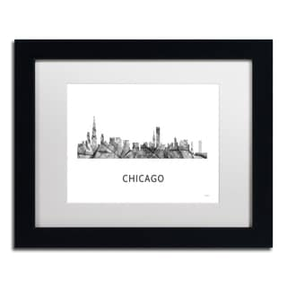 Marlene Watson 'Chicago Illinois Skyline WB-BW' Matted Framed Art