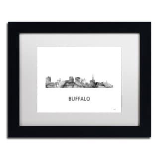 Marlene Watson 'Buffalo New York Skyline WB-BW' Matted Framed Art