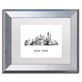 Marlene Watson 'New York New York Skyline WB-BW' Matted Framed Art