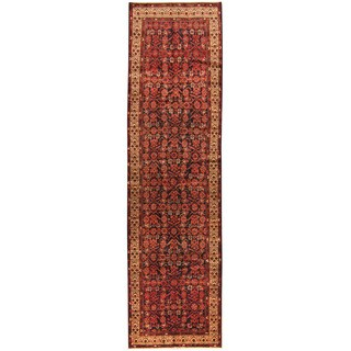 Herat Oriental Persian Hand-knotted Tribal Hamadan Wool Runner (3'6 x 13')