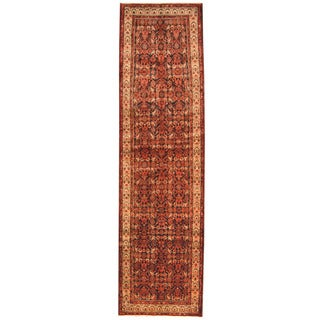 Herat Oriental Persian Hand-knotted Tribal Hamadan Wool Runner (3'8 x 13'3)
