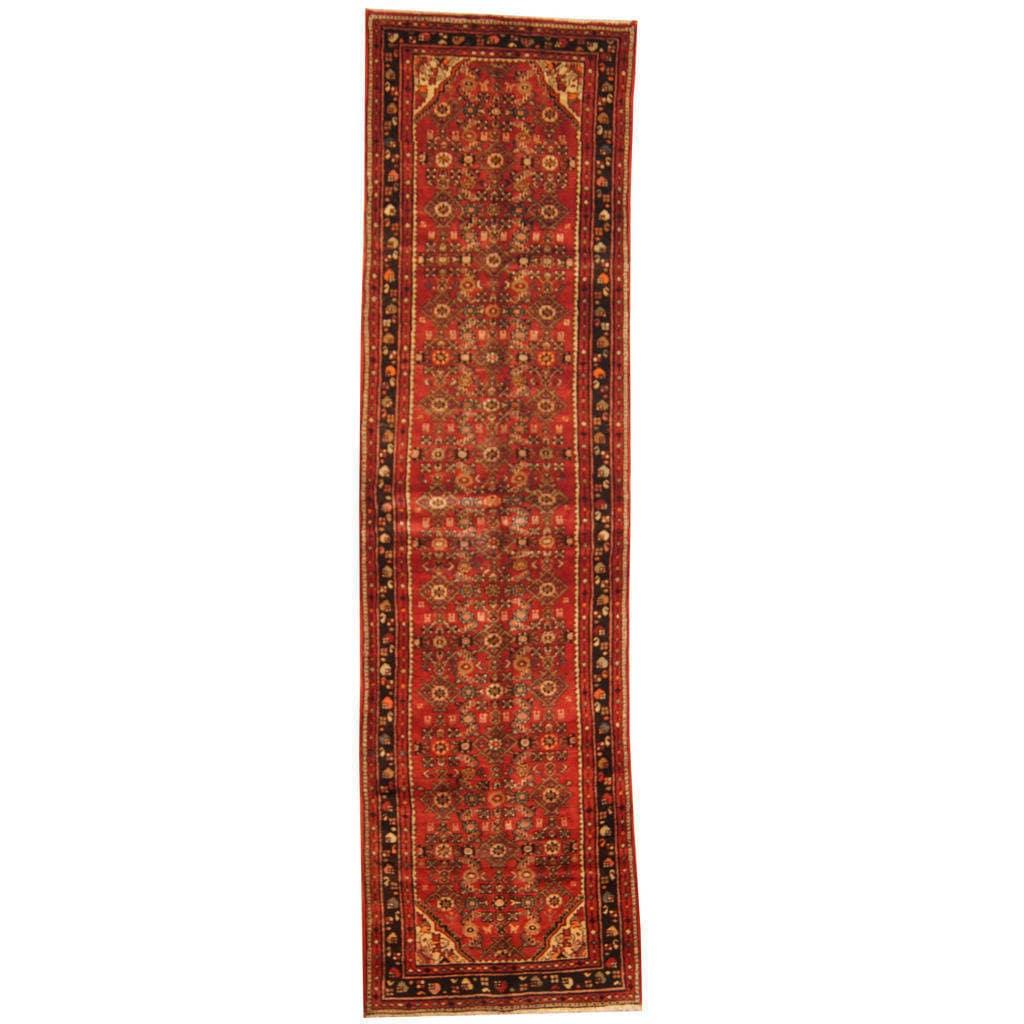Handmade Herat Oriental Persian Tribal Hamadan Wool Runner (Iran) - 34 x 124 (Brown/Red - 34 x 124)