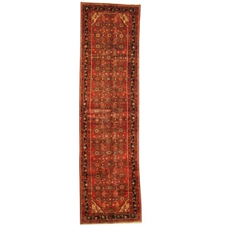 Herat Oriental Persian Hand-knotted Tribal Hamadan Wool Runner (3'4 x 12'4)