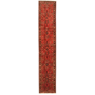 Herat Oriental Persian Hand-knotted Tribal Hamadan Wool Runner (2'9 x 14'9)