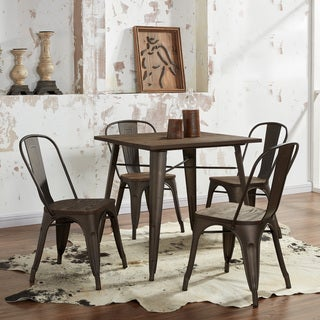 Modus Gunmetal Grey Metal and Wood 5-piece Dining Table Set