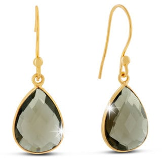 12 Carat Smokey Quartz Pear Shape Earrings In 18 Karat Gold Overlay